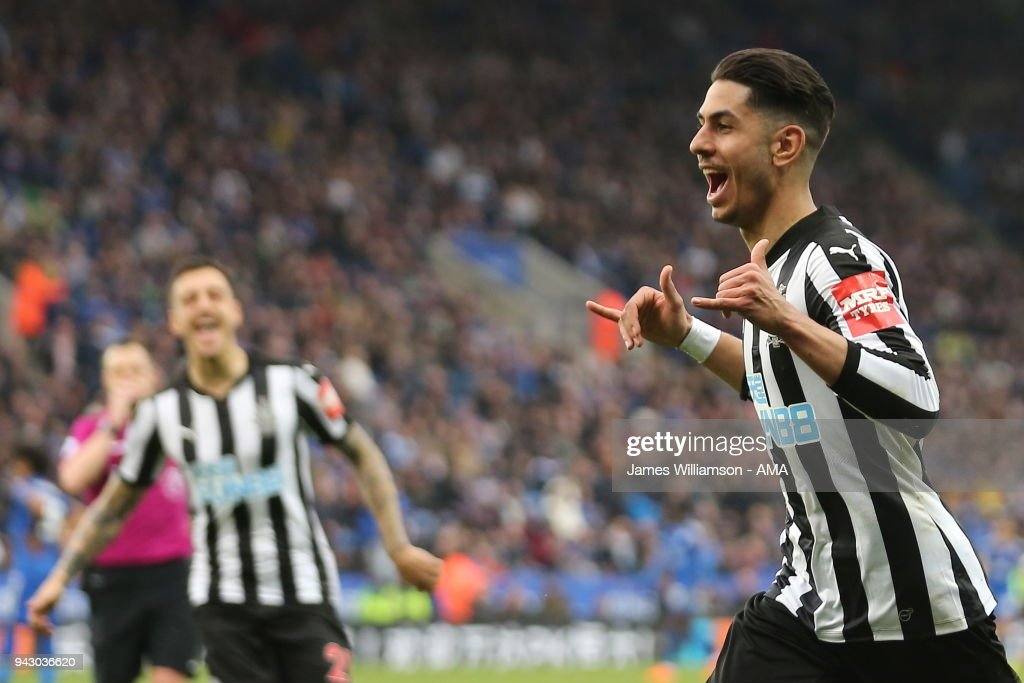 Ayoze Perez of Newcastle United celebrates after scoring a goal to make it 2-0 during the Premier League match between Leicester City and Newcastle United at The King Power Stadium on April 7, 2018 in Leicester, England.