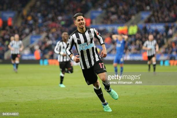 Ayoze Perez of Newcastle United celebrates after scoring a goal to make it 20 during the Premier League match between Leicester City and Newcastle...