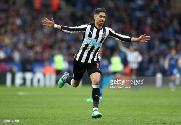 Ayoze Perez of Newcastle United celebrates after scoring his sides second goal during the Premier League match between Leicester City and Newcastle...