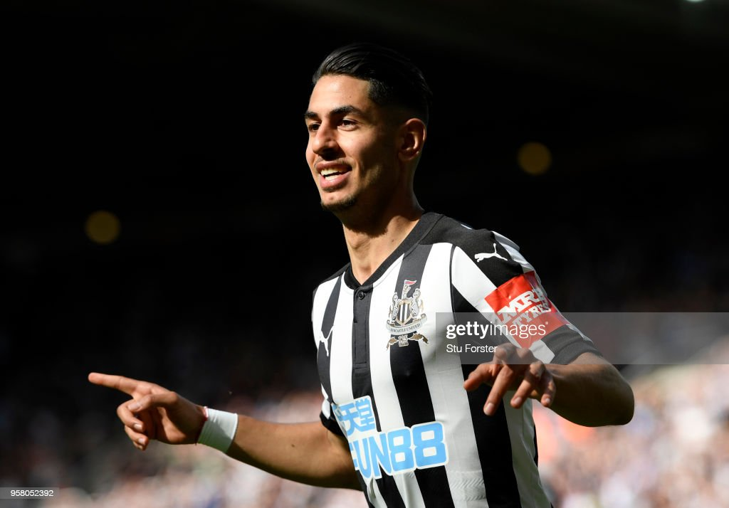 Ayoze Perez of Newcastle United celebrates after scoring his sides second goal during the Premier League match between Newcastle United and Chelsea at St. James Park on May 13, 2018 in Newcastle upon Tyne, England.