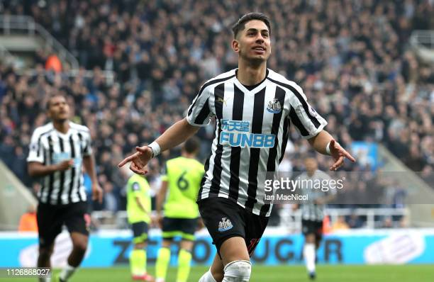 Ayoze Perez of Newcastle United celebrates after scoring his team's second goal during the Premier League match between Newcastle United and...