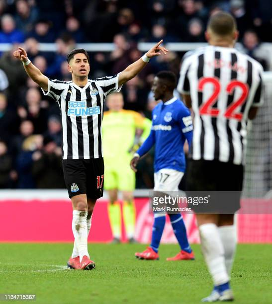 Ayoze Perez of Newcastle United celebrates after scoring his team's second goal during the Premier League match between Newcastle United and Everton...