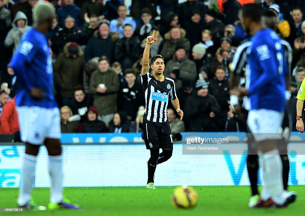 Ayoze Perez of Newcastle United celebrates after scoring his team's second goal during the Barclays Premier League match between Newcastle United and Everton at St James' Park on December 28, 2014 in Newcastle upon Tyne, England.