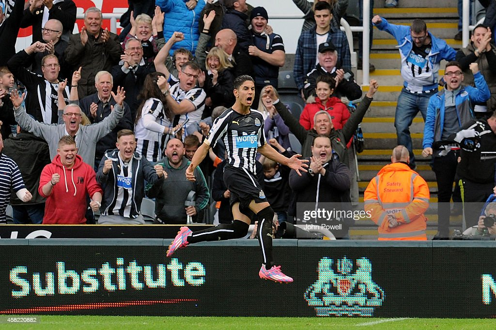 Ayoze Perez of Newcastle United celebrates after scoring the opening goal during the Barclays Premier League match between Newcastle United and Liverpool at St James' Park on November 1, 2014 in Newcastle upon Tyne, England.