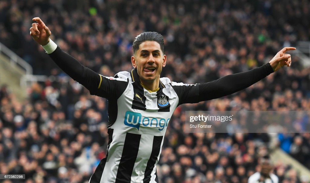 Ayoze Perez of Newcastle United celebrates as he scores their first goal during the Sky Bet Championship match between Newcastle United and Preston North End at St James' Park on April 24, 2017 in Newcastle upon Tyne, England.