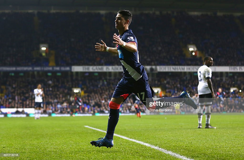 Ayoze Perez of Newcastle United celebrates as he scores their second goal during the Barclays Premier League match between Tottenham Hotspur and Newcastle United at White Hart Lane on December 13, 2015 in London, England.