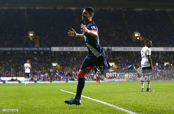 Ayoze Perez of Newcastle United celebrates as he scores their second goal during the Barclays Premier League match between Tottenham Hotspur and...