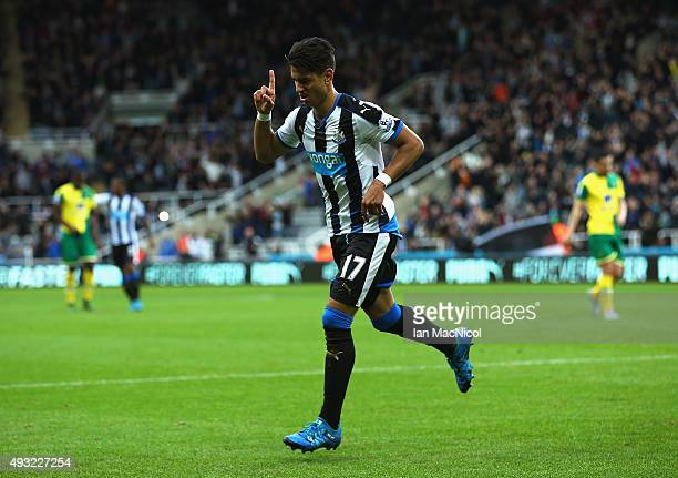 Ayoze Perez of Newcastle United celebrates as he scores their third goal during the Barclays Premier League match between Newcastle United and...