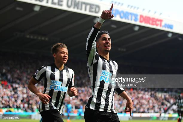 Ayoze Perez of Newcastle United celebrates scoring his side's first goal during the Premier League match between Newcastle United and Arsenal at St...