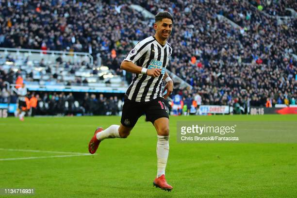Ayoze Perez of Newcastle United celebrates scoring his side's second goal during the Premier League match between Newcastle United and Everton FC at...