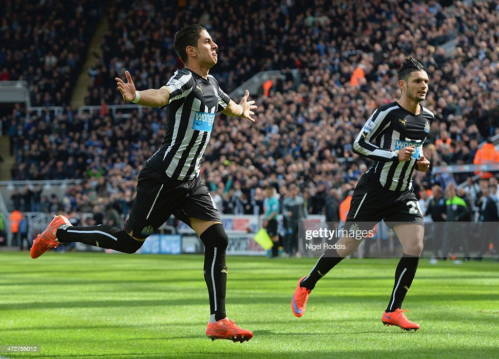 Ayoze Perez (L) of Newcastle United celebrates scoring his team's first goal during the Barclays Premier League match between Newcastle United and West Bromwich Albion at St James' Park on May 9, 2015 in Newcastle upon Tyne, England.