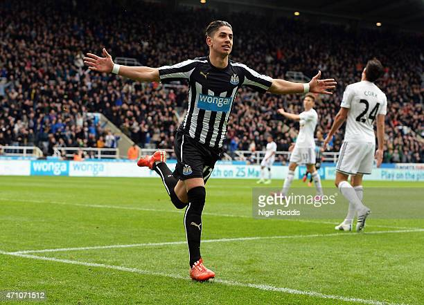 Ayoze Perez of Newcastle United celebrates scoring the opening goal during the Barclays Premier League match between Newcastle United and Swansea...