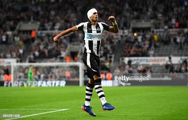 Ayoze Perez of Newcastle United celebrates scoring the opening goal during the EFL Cup second round match between Newcastle United and Cheltenham...
