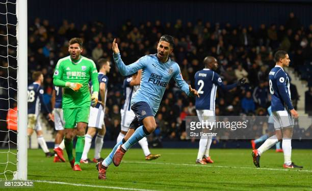 Ayoze Perez of Newcastle United celebrates the 2nd Newcastle goal during the Premier League match between West Bromwich Albion and Newcastle United...