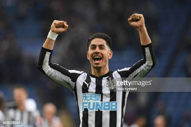 Ayoze Perez of Newcastle United celebrates victory after the Premier League match between Leicester City and Newcastle United at The King Power...