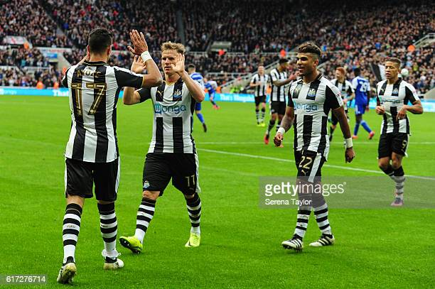 Ayoze Perez of Newcastle United celebrates with Matt Ritchie DeAndre Yedlin and Dwight Gayle 9 after scoring his second goal during the Sky Bet...