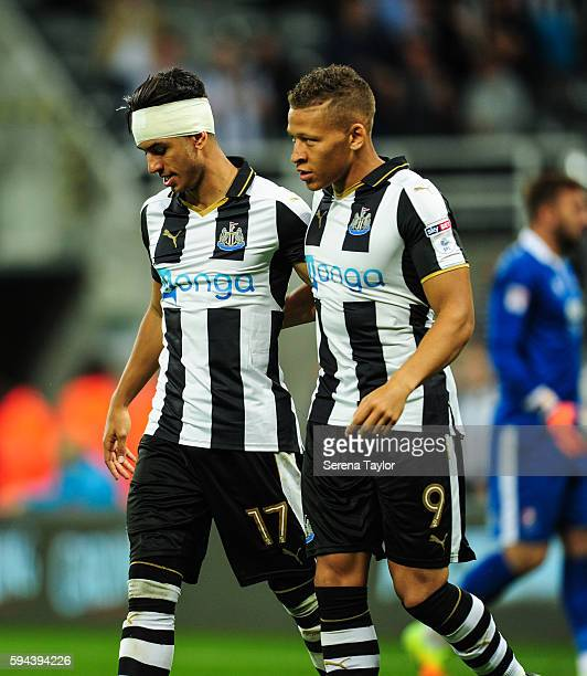Ayoze Perez of Newcastle United celebrates with teammate Dwight Gayle after scoring the second goal during the EFL cup between Newcastle United and...