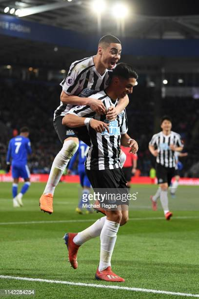 Ayoze Perez of Newcastle United celebrates with teammate Miguel Almiron of Newcastle United after scoring his team's first goal during the Premier...