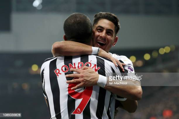 Ayoze Perez of Newcastle United celebrates with teammate Salomon Rondon after scoring his sides third goal during the Premier League match between...