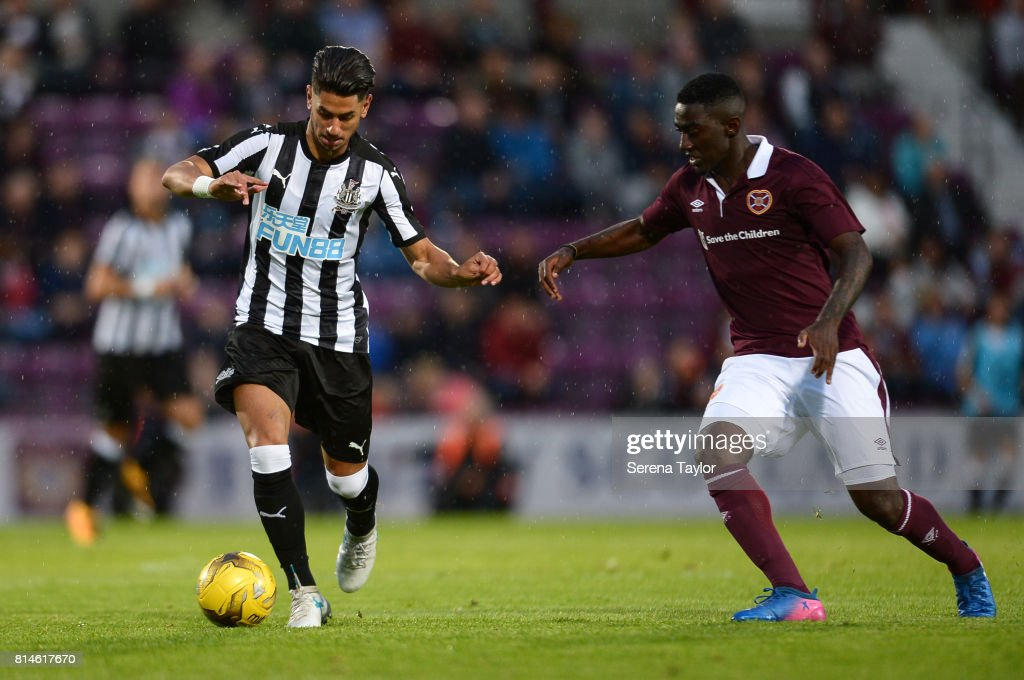 Ayoze Perez of Newcastle United (17) controls the ball during the Pre-Season Friendly between Heart of Midlothian and Newcastle United at the Tynecastle Stadium on July 14, 2017, in Edinburgh, Scotland.