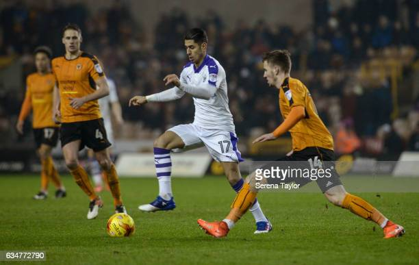 Ayoze Perez of Newcastle United controls the ball during the Sky Bet Championship mpatch between Wolverhampton Wanderers and Newcastle United at...