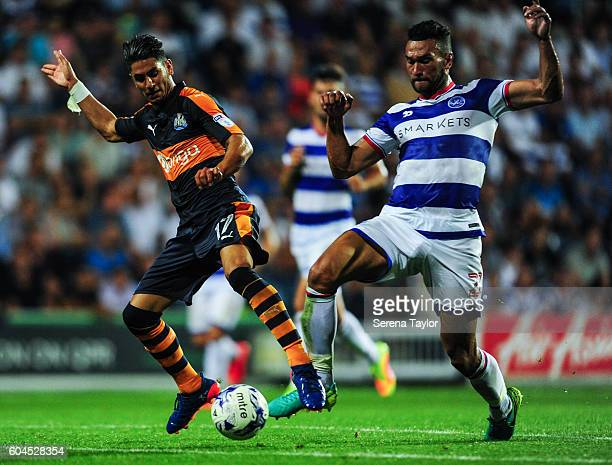 Ayoze Perez of Newcastle United controls the ball whilst being challenged by Steven Caulker of Queens Park Rangers during the Sky Bet Championship...