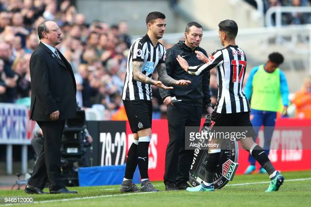 Ayoze Perez of Newcastle United is being substituted for Joselu of Newcastle United during the Premier League match between Newcastle United and...