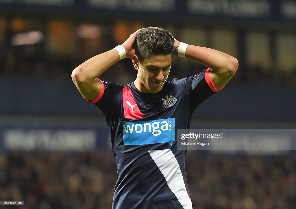 Ayoze Perez of Newcastle United reacts during the Barclays Premier League match between West Bromwich Albion and Newcastle United at The Hawthorns on December 28, 2015 in West Bromwich, England.