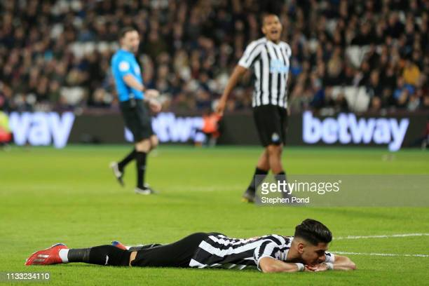 Ayoze Perez of Newcastle United reacts during the Premier League match between West Ham United and Newcastle United at London Stadium on March 02,...