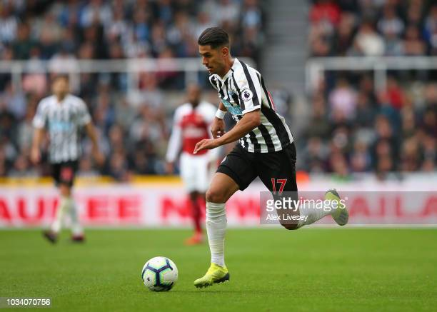 Ayoze Perez of Newcastle United runs with the ball during the Premier League match between Newcastle United and Arsenal FC at St James Park on...