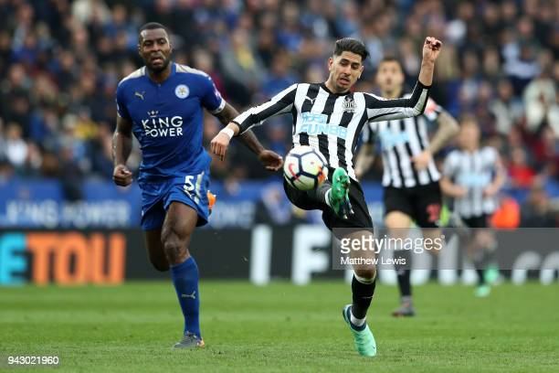 Ayoze Perez of Newcastle United scores his sides second goal during the Premier League match between Leicester City and Newcastle United at The King...
