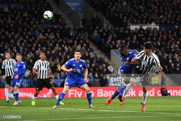 Ayoze Perez of Newcastle United scores his team's first goal during the Premier League match between Leicester City and Newcastle United at The King...
