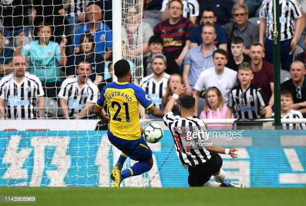 Ayoze Perez of Newcastle United scores his team's second goal during the Premier League match between Newcastle United and Southampton FC at St James...