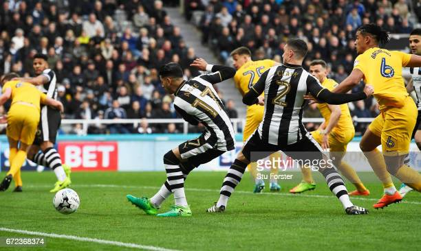 Ayoze Perez of Newcastle United scores their first goal during the Sky Bet Championship match between Newcastle United and Preston North End at St...