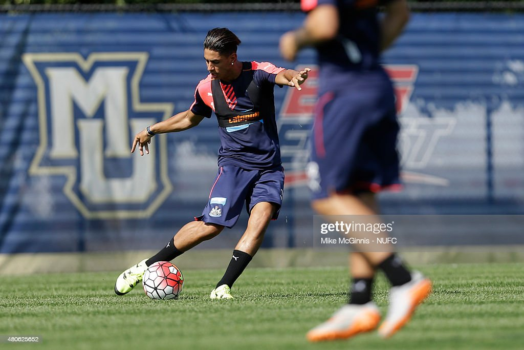 Ayoze Perez #17 of the Newcastle United runs through some drills during practice at Marquette University Valley Fields on July 13, 2015, in Milwaukee, Wisconsin.