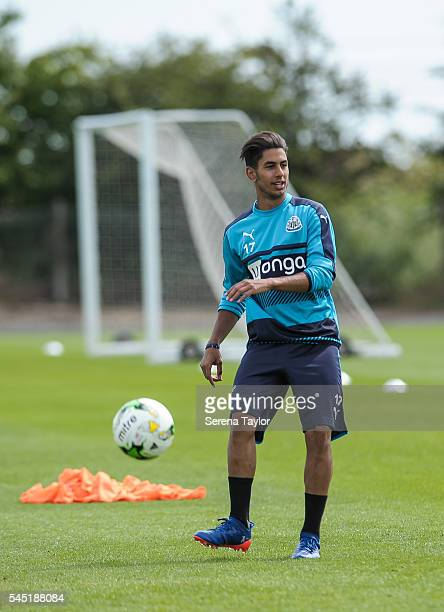 Ayoze Perez passes the ball during the Newcastle United Training session at The Newcastle United Training Centre on July 6 in Newcastle upon Tyne...