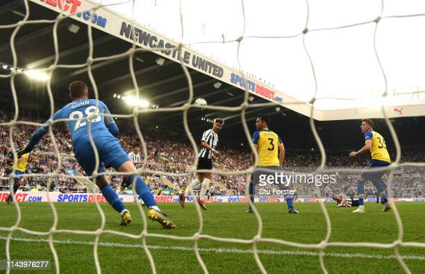 Ayoze Perez scores his and Newcastle's third goal past goalkeeper Gunn during the Premier League match between Newcastle United and Southampton FC at...