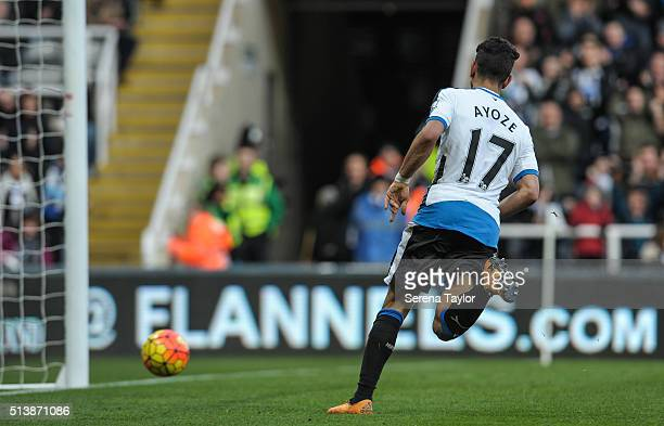 Ayoze Perez scores Newcastle's only goal during the Premier League Match between Newcastle United and AFC Bournemouth at StJames' Park on March 5 in...