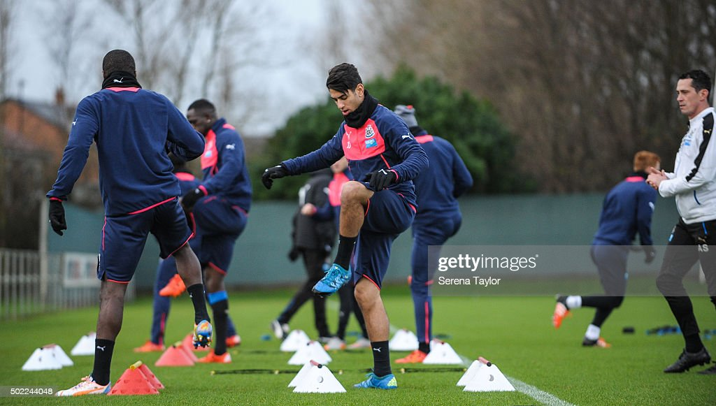 Ayoze Perez (C) warms up during the Newcastle United Training session at The Newcastle United Training Centre on December 22, 2015, in Newcastle upon Tyne, England.