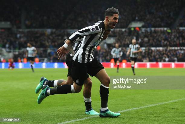 Ayoze Perze of Newcastle United celebrates after scoring the only goal of the game during the Premier League match between Newcastle United and...