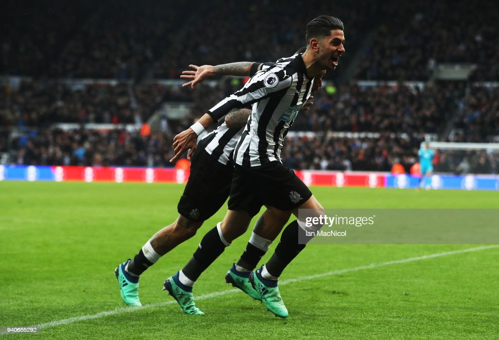 Ayoze Perze of Newcastle United celebrates after scoring the only goal of the game during the Premier League match between Newcastle United and Huddersfield Town at St. James Park on March 31, 2018 in Newcastle upon Tyne, England.