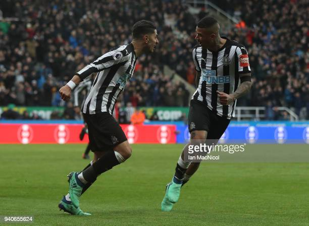 Ayoze Perze of Newcastle United celebrates with team mate Kennedy after scoring the only goal of the game during the Premier League match between...