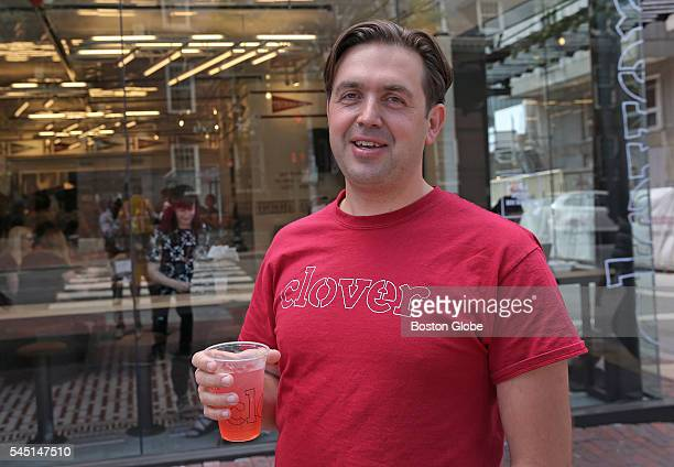 Ayr Muir owner for Clover Food Lab holds a cup outside of the restaurant in Harvard Square in Cambridge Mass on June 16 2016 Clover Food Lab had...