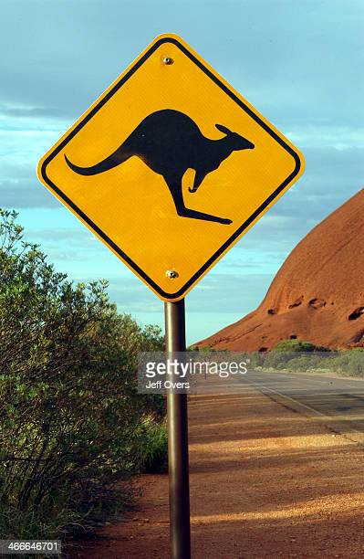 Ayres rock Uluru and Kangaroo warning road sign 2002