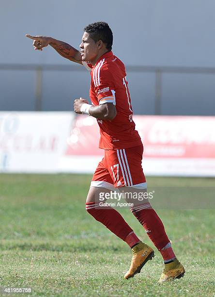 Ayron del Valle of America de Cali celebrates after scoring the first goal of his team during a match between Valledupar and America de Cali as part...