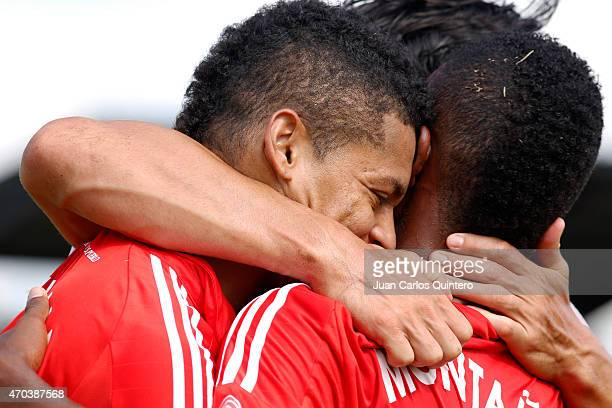 Ayron del Valle of América de Cali celebrates after scoring the second goal of his team during a match between Depor FC and America de Cali as part...