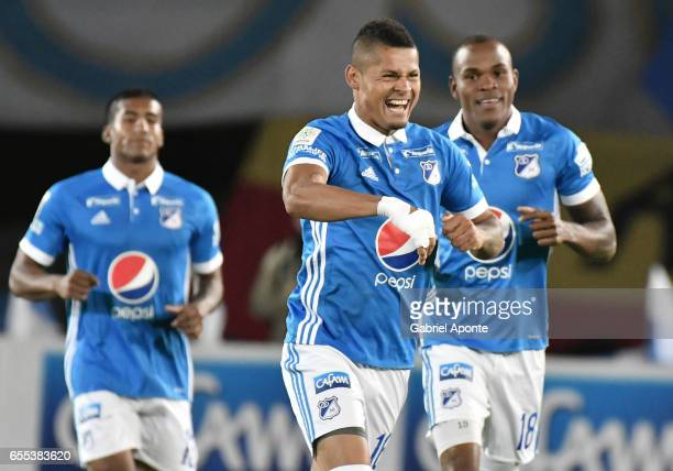 Ayron del Valle of Millonarios celebrates after scoring the second goal of his team during the match between Millonarios and Independiente Santa Fe...