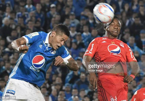 Ayron del Valle of Millonarios goes for a header during the second leg match between Millonarios and America de Cali as part of the Liga Aguila II...