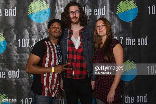 Ayron Jones of Ayron Jones and the Way and Hozier pose for a photo after an EndSession hosted by 1077 The End at Fremont Abbey Arts Center on October...
