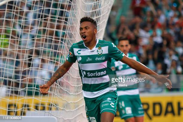 Ayrton Preciado of Santos celebrates after scoring the second goal of his team during the 8th round match between Santos Laguna and Toluca as part of...